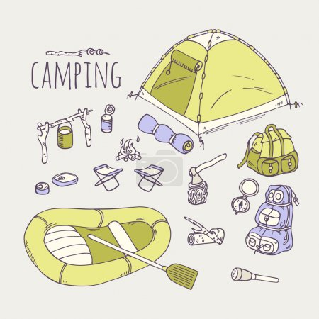 Illustration for Hand drawn camping items collection in vector. Hiking equipment doodle illustration - Royalty Free Image