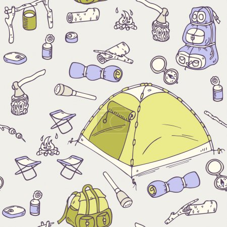 Illustration for Hand drawn camping  seamless pattern in vector. Hiking equipment doodle illustration - Royalty Free Image
