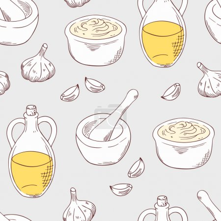 Illustration for Aioli sauce seamless pattern with ingredients garlic, olive oil, porcelain mortar and pestle. Cuisine vector illustration. Sketched food background - Royalty Free Image