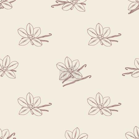 Illustration pour Motif sans couture avec fleur et haricots de vanille esquissés. Fond vectoriel dessiné à la main pour café de cuisine café - image libre de droit