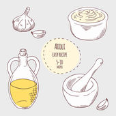Aioli sauce illustration in vector Hand drawn food ingredients garlic olive oil and porcelain mortar with pestle