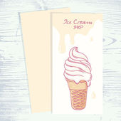 Cafe menu template with hand drawn ice cream sundae in waffle cone
