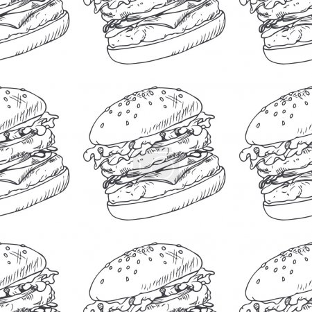 Seamless pattern with sketched burger, cheeseburger or hamburger. Wrapping paper for fast food