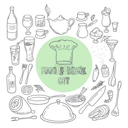 Photo pour Nourriture et boissons contour icônes doodle. Ensemble d'éléments de cuisine dessinés à la main pour le design de yor. Illustration vectorielle - image libre de droit