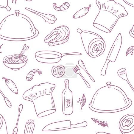 Illustration pour Décrivez le motif sans couture avec de la nourriture dessinée à la main. Arrière-plan pour café ou cuisine design. Illustration vectorielle - image libre de droit