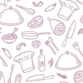 Outline seamless pattern with hand drawn food Background for cafe or kitchen design