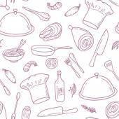 """Постер, картина, фотообои """"Outline бесшовные модели с рисованной пищи. Фон для кафе или дизайн кухни"""""""