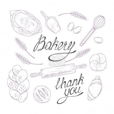 Bakery sketched illustrations in vector. Hand drawn groceries goods collection