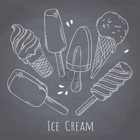 Illustration pour Ensemble de crème glacée dessinée à la main. Design alimentaire pour menu de café. Illustration vectorielle style craie avec dessert d'été. Arrière-plan tableau - image libre de droit