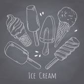 Set of hand drawn different ice cream Food design for cafe menu on chalkboard  Chalk style background