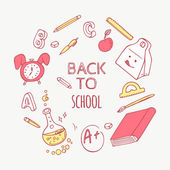 Back to school doodle objects background Hand drawn school supplies