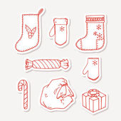 Set of hand drawn christmas stickers Doodle holiday decorative clip art