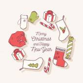 Set of hand drawn christmas stickers Doodle holiday decorative clip art Vector illustration