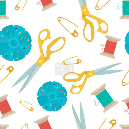 Seamless pattern set of tools for sewing.