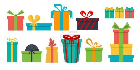 set of different gift boxes. Flat design.