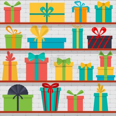 Illustration pour Modèle vectoriel sans couture de boîtes-cadeaux sur les étagères. Boutique cadeaux . - image libre de droit