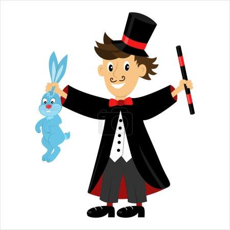 Cartoon character magician holding a magic wand an...