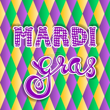 Illustration for Mardi gras.hand lettering. greeting card Mardi gras. - Royalty Free Image