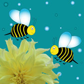 Colorful bees background witj flowers