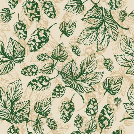 Hops floral seamless pattern