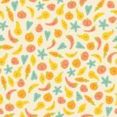 Amazing cute seamless vintage colorful vegetable fruit pattern