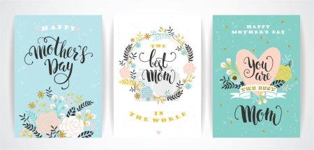 Illustration pour Ensemble de cartes de vœux de lettrage Happy Mothers Day avec des fleurs. Illustration vectorielle. - image libre de droit