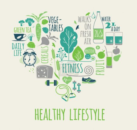 Illustration for Healthy lifestyle vector illustration in the shape of heart on plaid background. - Royalty Free Image