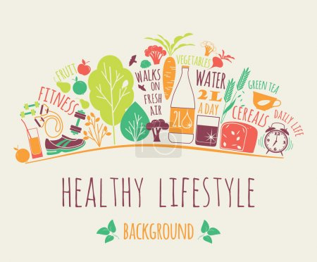 Illustration for Healthy lifestyle vector illustration. Design elements. - Royalty Free Image