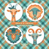 Vector illustration of goat and sheep symbol of 2015 Hipster s