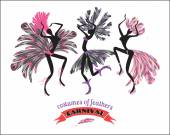 Illustration of dancing women in carnival costumes of feathers Stylization design element Carnival celebration fun