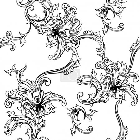 Illustration for Seamless vector background. Baroque pattern - Royalty Free Image