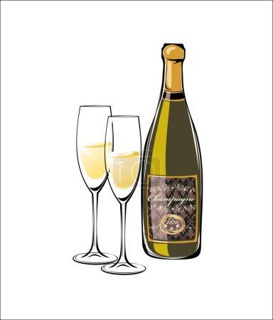 Illustration pour Bouteille vectorielle de champagne classique et verres à champagne complets - image libre de droit