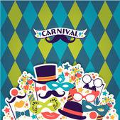 Oslava slavnostní pozadí s Karneval ikony a objekty