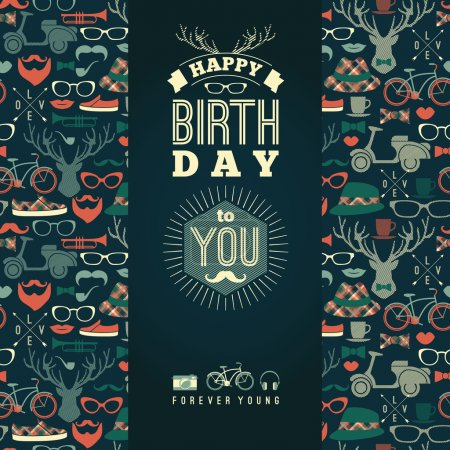 Happy birthday congratulations, vintage retro background with hi