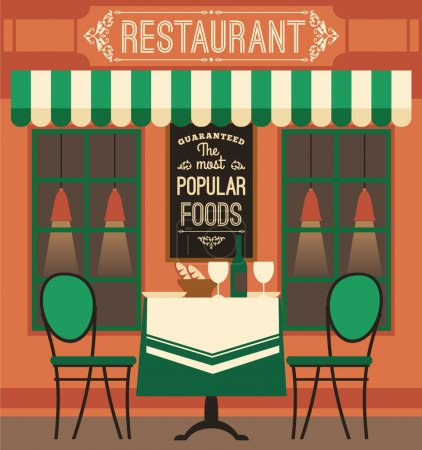 Illustration pour Illustration vectorielle design plat moderne du restaurant. Élément de conception . - image libre de droit