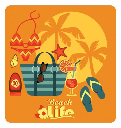Vector illustration of traditional beach holidays.