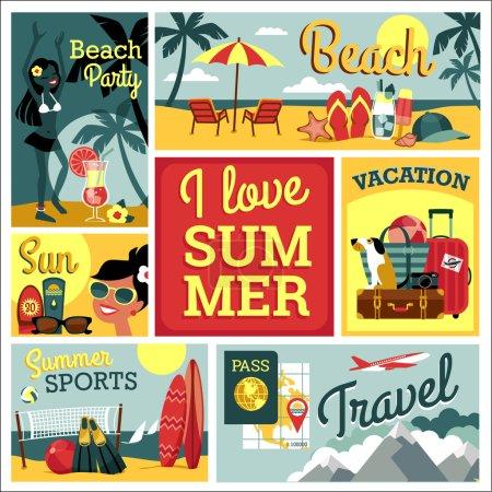 I love summer. Vector illustration of traditional summer vacatio