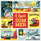 I love summer Vector modern flat design illustration of traditional summer vacation