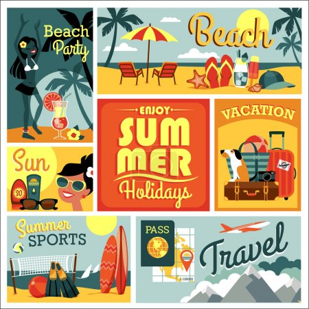 Photo for Vector modern flat design illustration of traditional summer vacation. - Royalty Free Image