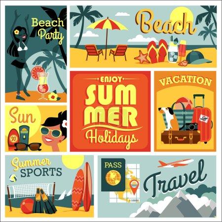 Vector illustration of traditional summer vacation.