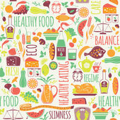 Vector seamless pattern with illustration of healthy food