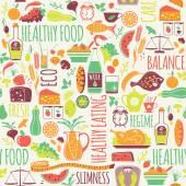 """Постер, картина, фотообои """"Бесшовный узор вектор с иллюстрации здоровой пищи."""""""