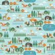 Vector seamless pattern with forest flora and faun...