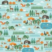 Vector seamless pattern with forest flora and fauna