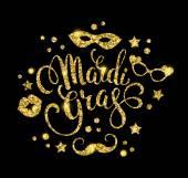 Mardi Gras.Glittering nápisy designu. Vektorové ilustrace