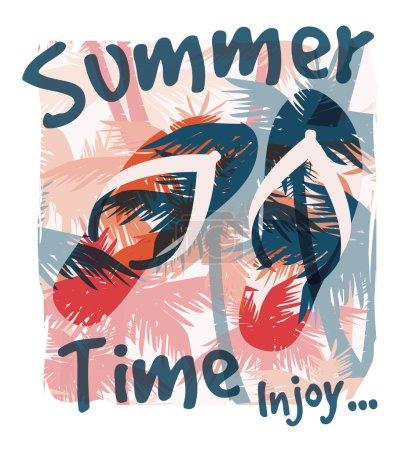 Illustration pour Impression estivale tropicale avec slogan pour t-shirt graphique et autres utilisations. Illustration vectorielle - image libre de droit