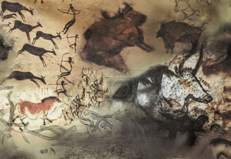 rock paintings of ancient people, showing a hunt for wild animals