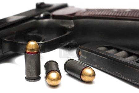 makarov system pistol disassembled isolated on white background