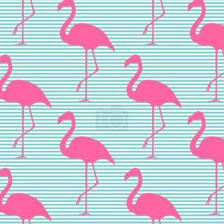Seamless vector pattern background with pink flamingos. Design f