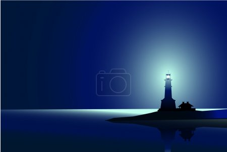 Lighthouse at  Night is a vector illustration....